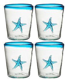 Aqua Marina Starfish Double Old-Fashioned Glass - Set of Four turquoise beach house kitchen / glassware!