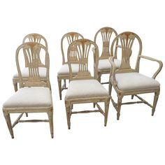 Set of Six Scandinavian Swedish Painted Dining Room Chairs