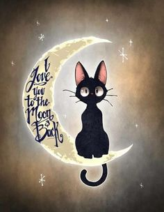 This is Jiji, the cat from Kiki's Delivery Service! I love this film! I love you to the moon & back by Tim Shumate <- His artwork is awesome! Crazy Cat Lady, Crazy Cats, I Love Cats, Cute Cats, Funny Cats, Cats And Kittens, Cats Bus, Siamese Cats, Ragdoll Cats