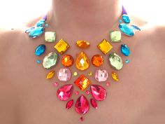 Exotic and Colorful Rainbow Rhinestone Statement Necklace, Bright Floating Illusion Jewellery, Blue, Green, Yellow, Orange, Pink. $28.99, via Etsy.