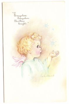 Vintage Eve Rockwell Angel Catching Snowflakes Christmas Tonight Greeting Card   eBay
