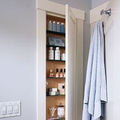 Get sneaky - Keep small spaces uncluttered with our creative storage and organization solutions. Behind the bathroom door is a perfect place for a cabinet of recessed shelves, just deep enough to hold one row of shampoo bottles or nail polish. Bathroom Cabinet Organization, Bathroom Storage Solutions, Small Bathroom Storage, Home Organization Hacks, Kitchen Storage, Closet Solutions, Closet Organization, Organizing Ideas, Small Closet Space
