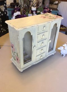 """Vintage Jewelry Box  // Wooden Jewelry Armoire // Shabby Chic Jewelry Box // Upcycled Wood Jewelry Box by ByeByBirdieDesigns on Etsy <a href=""""https://www.etsy.com/listing/484466621/vintage-jewelry-box-wooden-jewelry"""" rel=""""nofollow"""" target=""""_blank"""">www.etsy.com/...</a>"""