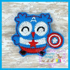 American Hero Owl Felt Feltie Embroidery Design by MommaMC on Etsy (Craft Supplies & Tools, Patterns & Tutorials, Sewing & Needlecraft, Embroidery, felt, feltie, felty, machine embroidery, super, hero, owl, american)