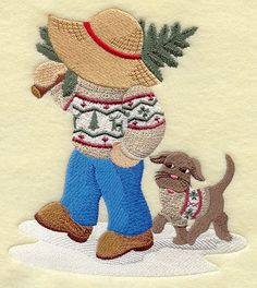 Fisherman Fred in Christmas Sweater.  How cute would it be to make a quilt of Sunbonnet Sue and Fisherman Fred?!