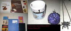 Tammikuu 2013, arvorinki: Suklaatoffee makeisia, tummaa ja valkeaa sulatettavaa suklaata dippailuihin, kolme vihkoa, Viivi ja Wagner sarjakuvakirja, Agatha Christien & Patricia Highsmithin romaanit,  Viivi ja Wagner muki, iso pallollinen pompuloita, hämähäkkikaulakoru