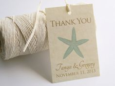 Printable Beach Wedding Favor Tags,  DIY Vintage Starfish Thank You Tags, Bridal Shower GIft Tags, Custom Personalized Favour Tags 2x3