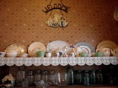 One of my favorite decorative spots in my kitchen is my shelf with my collection of platters, tea cups, tea pots, and mason jars. Tea Pots, Mason Jars, Cups, Shelf, Kitchen, Life, Collection, Vintage, Decor