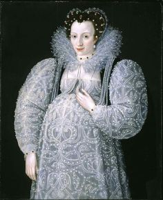 I don't remember seeing this portrait by Marcus Gheeraerts posted before. The unknown woman who was his subject in 1595 is heavily pregnant and proud of it, and the dress does nothing to disguise her condition. Add to that, the truly profligate use of pearls, and the overall effect is that of a White Goddess.