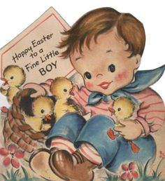 vintage easter card - little boy with basket of baby ducks