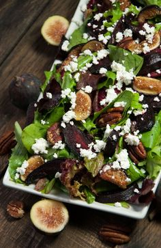 Simple and elegant beet salad with feta and roasted figs is an easy to make fall favorite that pairs well with any main dish. - Feasting Not Fasting