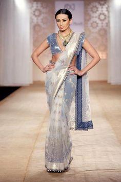 Anju Modi - White & Bluish Grey #saree #sari #blouse #indian #outfit #shaadi #bridal #fashion #style #desi #designer #wedding #gorgeous #beautiful