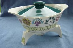 Fleur Lidded Tureen on its Trivet, the trivet contained a small well for placing a night light to keep the food warm Night Light, Warm, Food, Flower, Essen, Meals, Yemek, Bedside Lamp, Eten
