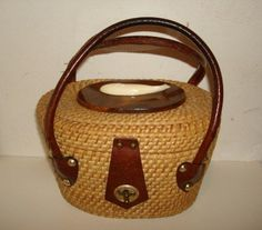 Vintage Straw & Leather Nantucket Basket by PastPossessionsOnly, $124.95