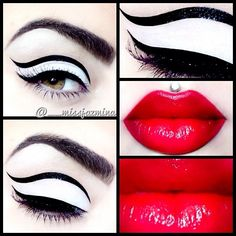 Fierce cut crease with red lips