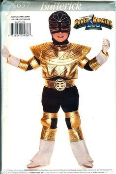 Go Go Power Rangers! Butterick 4657 Power Rangers Costume Pattern Halloween ZEO Gold child size 4-14 UNCUT FF #Butterick #Halloween #powerrangers