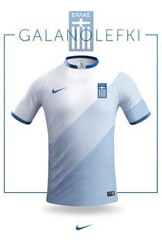 Greek National jersey design - Nike on Behance Soccer Kits, Football Kits, Football Jerseys, Sports Jersey Design, Football Design, Jersey Designs, Team Shirts, Sports Shirts, Design Nike