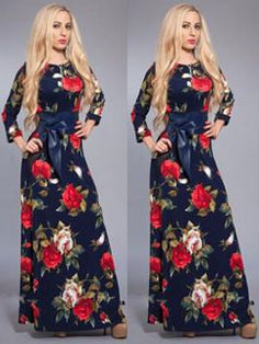 Modern Evening Long Sleeve Stylish Floral Print Women Prom Maxi Dress