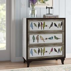 August Grove Millwright Birds on a Wire 3 Drawer Painted Chest Decoupage Furniture, Hand Painted Furniture, Large Furniture, Paint Furniture, Upcycled Furniture, Shabby Chic Furniture, Furniture Makeover, Rustic Furniture, Chest Furniture