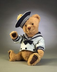 *R. JOHN WRIGHT COLLECTIBLE DOLLS ~ Bears at Sea - Bear Bo-Sun 21 inches, LE/250 - $775.00 prices subject to change  Alaca; Fully jointed; Brown glass pupil eyes; leather nose; Felt sailor costume