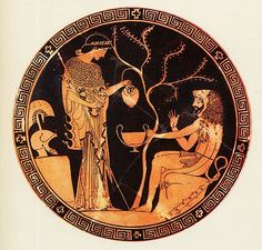 A red figure vase painting depicting Athena in the company of Herakles, the great hero