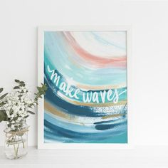 Add some modern style to your home decor with my collection, The Monterey Swell. This collection features plenty of beautiful blue, turquoise, pink and ochre abstract paintings that are sure to be a statement on any gallery wall!  -- PAPER PRINTS --  Our prints are carefully made in California with Beach Chic Decor, Surf Decor, Modern Coastal, Coastal Decor, Pink Painting, Painting Quotes, Beach Quotes, Abstract Paintings, Watercolor Art
