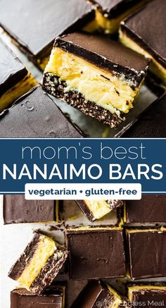 Nanaimo Bars are a classic Canadian Christmas dessert. They are made with a chocolate graham cracker, coconut, and walnut crust then topped with a layer of buttery custard and chocolate.