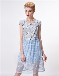 Blue Lace Long Dress Teen Style, Daytime Dresses, Blue Lace, Teen Fashion, Dresses For Work, Tunic Tops, Female, Color, Beautiful