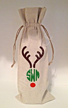 Wine Bag with Drawstring with Reindeer Antlers by PiperGraceGifts