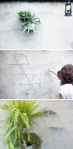 These Modular Geometric Shelves Have Just Enough Space For Plants Modern Plant Stand, Diy Plant Stand, Plant Stands, Garden Deco, Walled Garden, Plant Wall, Plant Decor, Indoor Garden, Indoor Plants