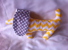 Puppy Plush Sensory Toy In Yellow Chevron with by lizzysueandher2, $11.99