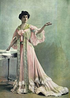 This tea gown from the early 1900's was less fitted compared to the customary dress of the time. Used mainly for late afternoon. It is said that this style was popularized by Mariano Fortuny. Generally women with wealth were able to use this type of dress, the lower classes either did not use a version of the tea gown or had a simplistic version.