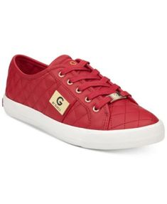 GUESS Backer Sneakers in 6 Colors! GUESS Baker Trainers shine with a chic quilted pattern and metallic hardware accents. Red Sneakers, Sneakers Women, Clearance Shoes, Guess Shoes, Womens High Heels, Athletic Shoes, Lace Up, Leather, Fashion Deals