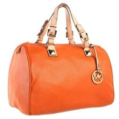 NWT Designer Michael Kors Grayson Medium Tangerine Leather Satchet Handbag Purse