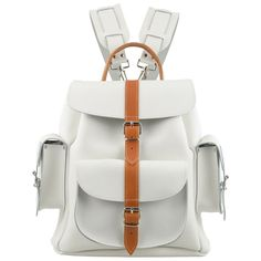 New Grafea Bianca Medium Leather Ruck Sack-White