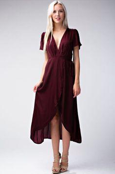 Burgundy Midi Wrap Dress