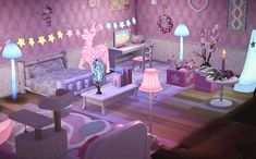 I just had to make a magical illuminated bedroom after all the adorable stuff I've gotten through trades recently! Animals Crossing, Animal Crossing Guide, Animal Crossing Villagers, Animal Crossing Qr Codes Clothes, Animal Crossing Pocket Camp, Animal Games, My Animal, Happy Home Designer, Motifs Animal