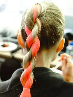 hairstyle, hairstyles, ponytail, ponytails, twisted ponytail, twisted ponytail, braids, braided, braided ponytails, cute hairstyles, hair trends, hair extension, colored hair, dyed hair, dip dyed hair, neon hair, neon