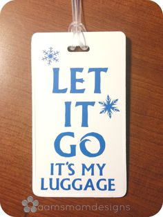 A clever and fun way to identify your own in the sea of luggage at the airport or cruise port! This design is perfect for the Anna or Elsa in your life! Your choice of vinyl color on white luggage tag. Comes with a flexible, plastic loop strap as well as a blank card for contact info.