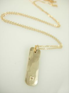 Gold Initial Necklace Gold Bar Necklace by jamesmichellejewelry Initial Necklace Gold, Gold Bar Necklace, Dog Tag Necklace, Arrow Necklace, Pendant Necklace, Jewelry Accessories, Unique Jewelry, Initials, Gems