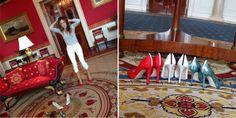 Sarah Jessica Parker smuggles patriotic heels into white house! :)