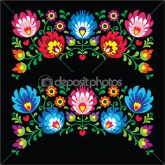 Patrones de bordado popular floral polaco para tarjeta en negro - Wzory Lowickie — Ilustración de stock #45509009