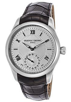 Frederique Constant Men's Maxime Automatic Black Genuine Leather Silver-Tone…