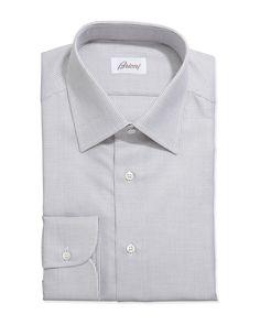 Lattice-Weave Grenadine Dress Shirt, Brown - Brioni