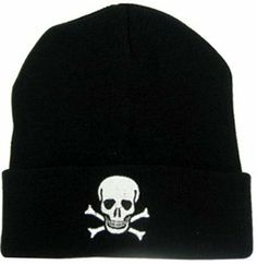 Skull & Crossbones Knit Beanie Hat by John Kent. $2.99. Embroidered Cuff Ski Hat. One Size Fits All. High quality,  great style knit ski hat Keep your head covered with this embroidered cuff ski hat.  Works well in  cold and windy conditions.  Skull and bones design.  One size fits all BLACK ONLY # imported