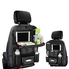 Pushingbest Back Seat Car Organizer, Car Organizer for Kids Toy Bottles Storage Foldable Dining Table Clear Tablet Holder Family Road Trip Accessories (Black Ipad Holder For Car, Tablet Holder, Car Seat Organizer, Birthday Presents For Girls, Girly Car, Gymnastics Outfits, Car Storage, Toy Organization, Back Seat