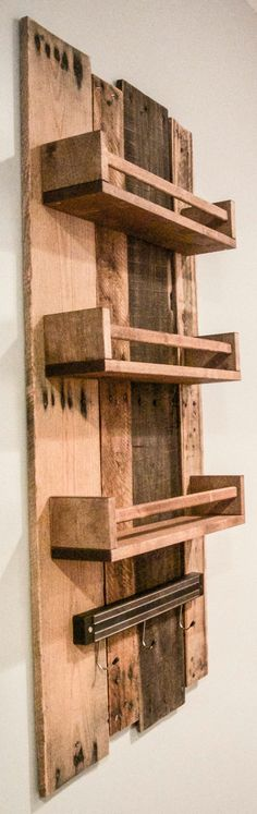 Trendy rustic wood kitchen cabinets wooden shelves – - My Home Decor Cabinet Spice Rack, Kitchen Spice Racks, Reclaimed Wood Shelves, Wooden Shelves, Rustic Shelves, Wood Shelf, Woodworking Projects Diy, Wood Projects, Wooden Spice Rack