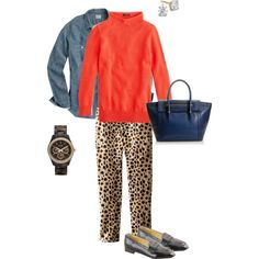 Leopard Pants 2 by tutumuch on Polyvore featuring мода, J.Crew and FOSSIL