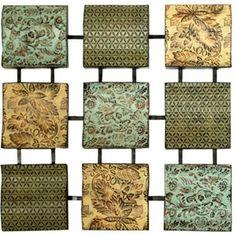 Segmented Panel Metal Wall Decor, Set of Nine