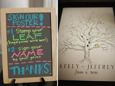 i continue to love this tree guest book idea where guests stamp a leaf with their fingerprint.